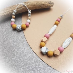 collier allaitement rose mangue + bracelet